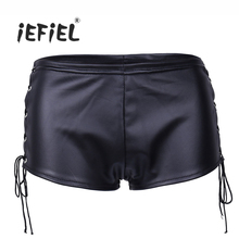 iEFiEL Fashion Women Patent Leather Lace Up Performance Hot Shorts Clubwear Party Clubwear Sexy Lingerie Shorts Women's Panties(China)