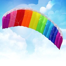 2016 New Hot Power Dual Line Stunt Parafoil Parachute Rainbow Sports Beach Kite with 2pcs 30m Nylon Flying Lines For Beginner