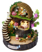 DIY Wooden Dollhouse Kit Model--Fantasy forest Model & dolls & furniture Model Light & Music box