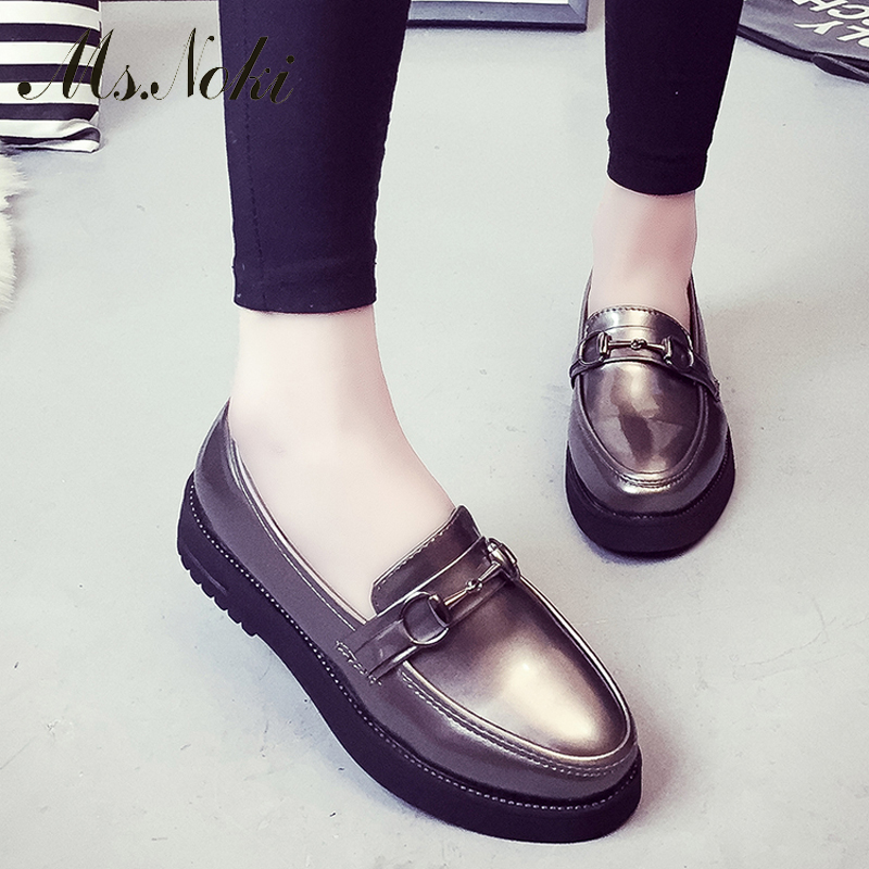Ms. Noki spring women black Metal Decoration flats with good quality adult spring casual leisure girls flats Classics shoes<br><br>Aliexpress