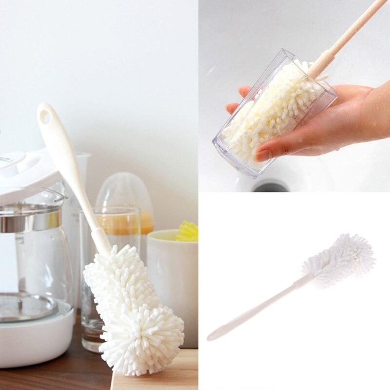 Foam Head Kitchen Wine Bottle Stemware Coffee Pot Glassware Decanter Cleaner Cleaning Tool Brush Flexible Bottle Scourer Brush