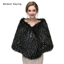 Elegant Black with Ivory Spot Faux Fur Wedding Wraps 2017 Imitation Raccoon fur Bridal Shawls Boleros Coats Wedding Accessories