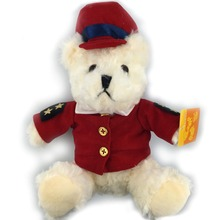 25CM Lovely Teddy Bear Stuffed Plush Dolls Red Police Bear Toys Best Christmas Gifts Kids Love Wholesale Good Quality NT062B