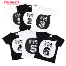 "Summer Boys T Shirt for Children 2017 Kid Apparel Baby Figure ""1 2 3 4 5 6"" Printing Pattern T shirt Boys Girls Top Tees Fashion(China)"
