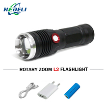 Lantern mobile power Smart USB flashlight LED Torch CREE XM-L2 waterproof 3800 Lumens 26650 Rechargeable battery Power display(China)