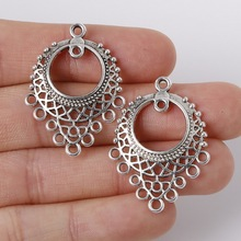 Fit Bracelet Necklace Jewelry Accessories 6pcs 24x33mm Zinc Alloy Antique Silver Flying Rings For DIY Metal Charms Pendants