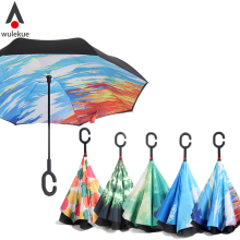 Wulekue Starry Sky Anti UV Inverted Umbrella Reverse Folding Double Layer Guarda Chuva Self Stand Inside Out Sunny Rain