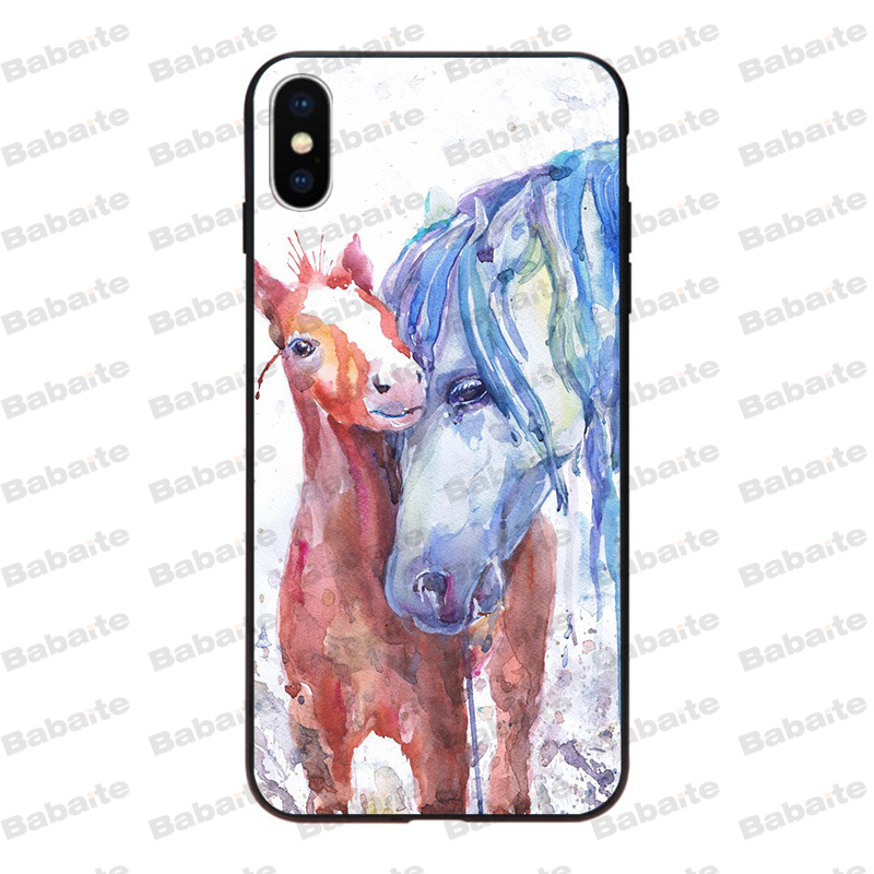 Watercolor horse Running Horses