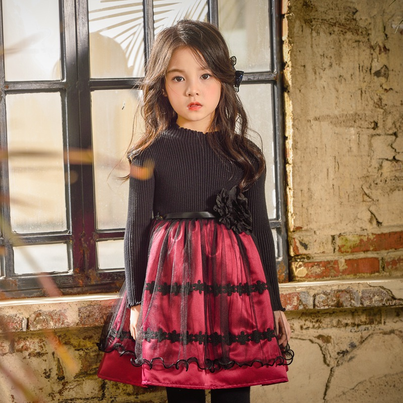 Travel snail baby girls winter kids knitting clothing dress 2017 New 3-7 Y vestidos infantil roupa menina long sleeve patchwork<br>