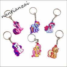 1PCS My Cute Little Horse Keychain Poni keyring key holder key accessories key fob Cartoon pvc pendant Kids Gift(China)