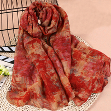 Comfortable Woman Solid Scarf Cotton Voile Polyester Scarves Solid Warm Autumn And Winter Scarf Shawl Printed(China)