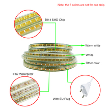 AC220V Led strip 3014 120leds/m SMD flexible light 1M 2M 3M 4M 5M 6-25M Waterproof Led light home Party Garden Kitchen use UW(China)
