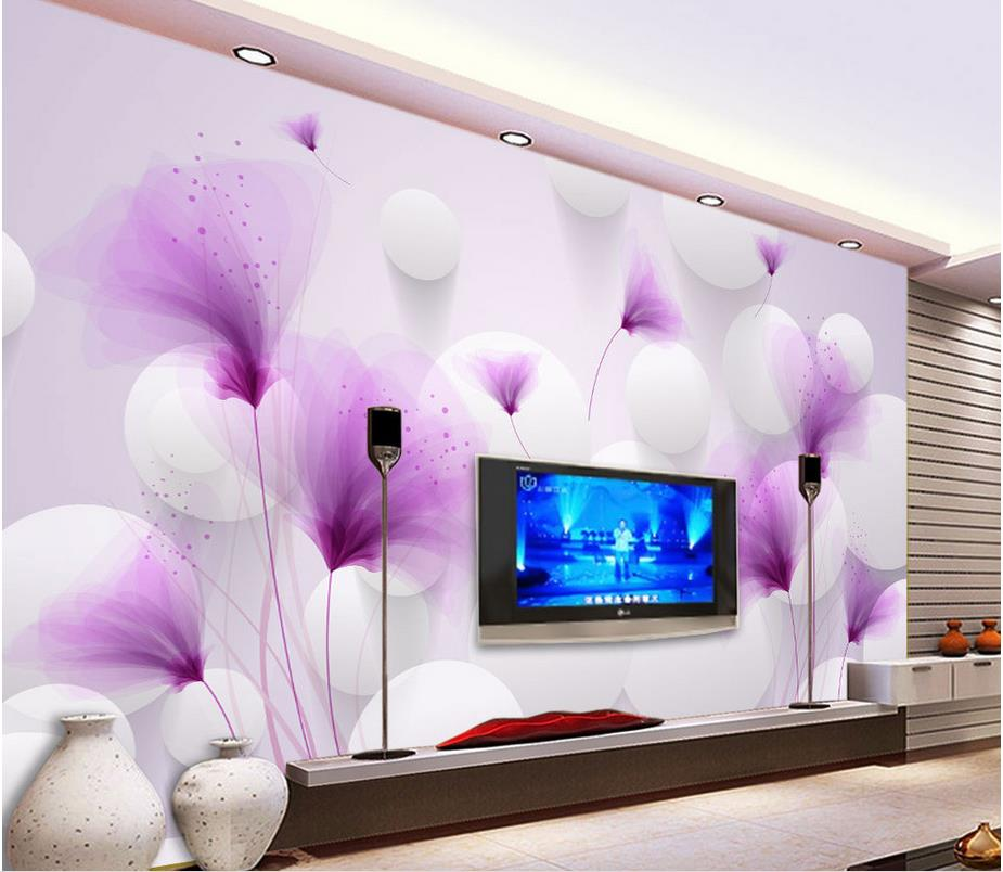 3d wallpaper for room Purple flowers Romantic lily transparent ball 3D background wall mural 3d wallpaper<br>