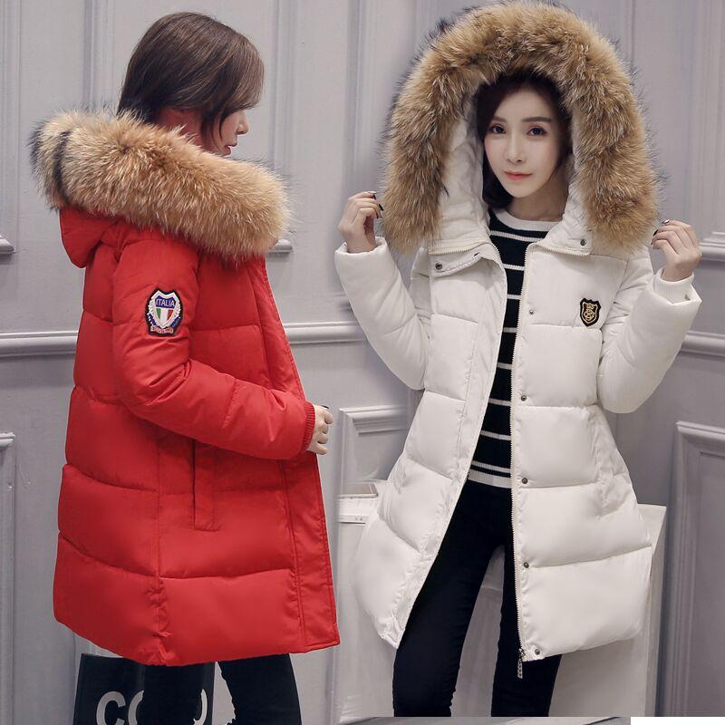 2017 new women big fur collar with hooded winter jacket women outerwear winter coat casual long clothesÎäåæäà è àêñåññóàðû<br><br>