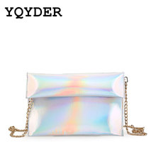 Women bags 2017 new bright side of the laser bags carrying bags fashion Simple envelope bag chain Messenger bags sac a main