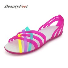 BeautyFeet Summer Fish Mouth Plastic Flat Sandals Rainbow Casual Beach Shoes Mixed Color Women Sandals Sandalias Mujer Zapatos(China)