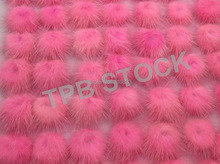 2PCS Real Genuine Mink Fur Pom pom Furry Ball DIY Findings Hair Bobbles Clip Handbag Keychain cell Phone Accessories Pink(China)