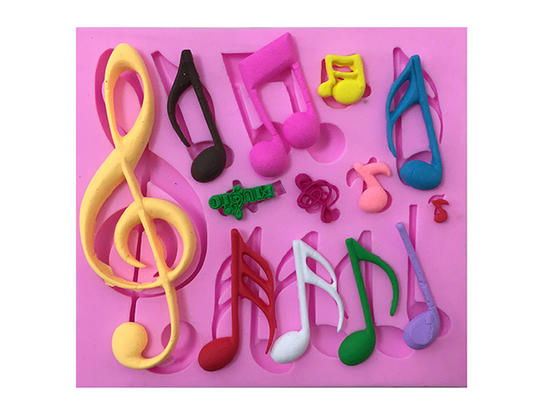 Image 1PCS Beautiful Music Notes Shape Silicone Mold, For Fondant Cake Mold, Bakware Tools, Soap Mold ,Sugar Tool E087