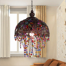 Creative Retro European Colorful Chandelier Hemispherical Crystal Light Living room Study Bedroom Decoration Lighting E14