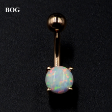 Surgical Steel Anodized Rose Gold Prong Set Opal Stone Belly Button Ring Navel Bar Piercing Nombril Ombligo Body Jewelry 14g(China)