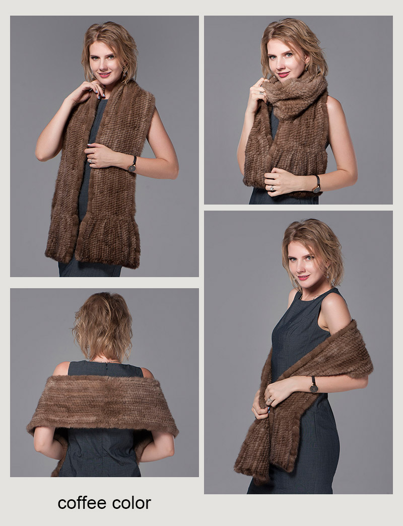 color coffee mink fur scarf