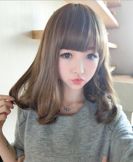 Female Wig Korean Pear Head Bangs Fluffy Shave Long Curly