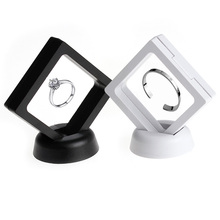Black white Suspended Floating Display Case Jewellery Coins Gems Artefacts Stand Holder Box(China)