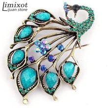 2017 High Quality Antique Gold Blue Stone Peacock Brooch Pin Resin Brooches Jewelry Garment Decoration Accessories