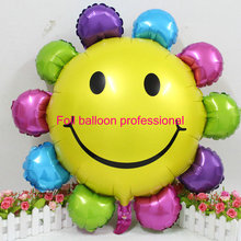 1pcs/lot 85*82cm rainbow Sunny Flower Foil Balloons Smiley Sunflower Balloon Birthday Decoration ballons baloes de festa