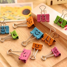 Urijk 10Pcs /Set Cute Kawaii Smile Metal Binder Clips Sweet Expression Food Bag Clips Note Clips Random Mixed 19mm Wide