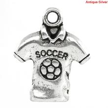 8SEASONS Charm Pendants Polo Shirt Antique Silver Soccer Carved 18x15mm,50PCs 2015 new(China)