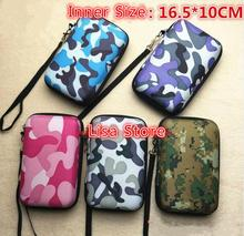 7pcs Camouflage 6 Inch Power Bank Phone Storage Cable Bag + Strap Hard Hold Case For Earphone Box Headphone Earbuds Card Bag(China)