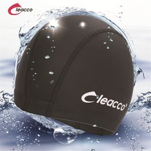 2017 New Elastic Waterproof PU Fabric Protect Ears Long Hair Sports Swim Pool Hat Swimming Cap Free size for Men & Women Adults(China)