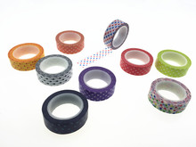 50rolls/lot 10m*1.5cm Polka Dots Print Washi Adhesive Paper Tape for Gifts Wedding Birthdays Decorations(China)