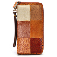 Vintage Wallets Women's Genuine Leather with Pu Color Patchwork Long Day Clutches Purse Wrist Hand Mobile Phone Bags P30(China)
