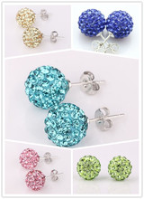 Fashion Shamballa Jewelry New Mix Colors Sales Promotion Crystal AB Clay Disco Ball Shamballa Stud Earring For Women
