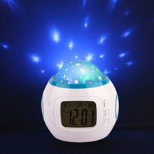 Music star creative LED colorful luminous projection clock mute small alarm clock electronic clock snooze student bed(China)