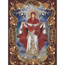 Diamond Вышивка иконы религиозных Девы Марии 5D DIY алмаз живопись картина из Стразы Diamant schilderen бисером картины(China)