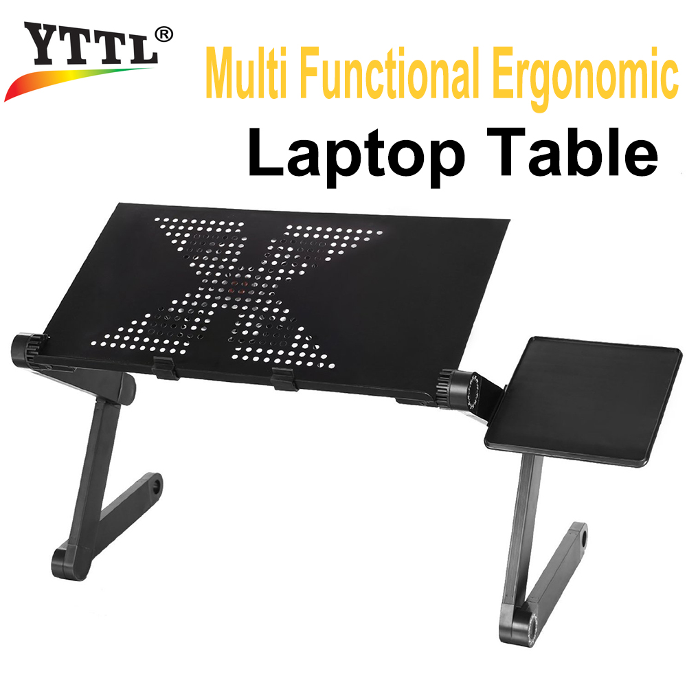 Multi Functional Ergonomic Foldable Laptop Stand Come With USB Cooler and Mouse Pad Portable Laptop Mesa Notebook Table For Bed<br>