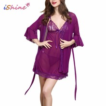 Buy 2017 Summer Baby Dolls Woman Sexy Nightdress Lace Transparent Sleepshirts Nightgowns Hot Erotic Lingerie Pajamas Robe Panty Set