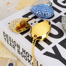 64GB Silver Crystal Diamond Heart Shape USB2.0 Flash Pen Drive Memory Stick Disk
