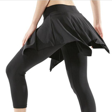 Just Join Ladies 3/4 Skinny Yoga Dance Pant Skirt Cool Dry Elastic Fake 2 pcs Pantskirt Gym Workout Cropped Pants