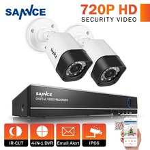 SANNCE 4CH Full 1080N Realtime CCTV DVR Video Surveillance Recorder With 2x 720P IR Night Weatherproof Outdoor Security Cameras