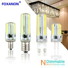 Foxanon Led Light G9 G4 Led Bulb E11 E12 14 E17 G8 Dimmable Lamps 110V 220V Spotlight Bulbs 3014 SMD 64 152 Leds Sillcone Body