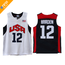 Throwback Kyrie Irving 23 James Harden 12 Paul 13 Kevin Durant 5 Westbrook 7 Anthony Davis 14 Team 2012 USA Basketball Jerseys(China)