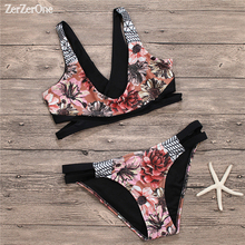 Buy Bikini 2018 New Vintage Print Floral Swimsuit Women Bikinis Set Sexy Push Swimwear Female Beach Wear Swim Suit Bathing Suits