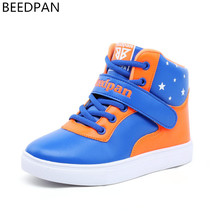 BEEDPAN Autumn Winter Children Shoes Boys Girls Leather Shoes Kids Boys Sport Shoes Running Toddler Girl High Top Sneakers