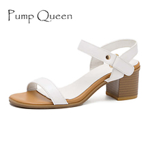 Women Summer Genuine Leather Sandals 2017 Fashion Sweet Square Heel Sandal Ladies Platform Soft Female Shoes