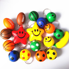 24piece/pack High Quality PU Key Chains Smiling Face Basketball Soccer Football Watermelon Banana Bag Key Rings Large Collection(China)