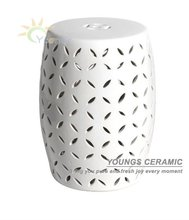 Oriental White Ceramic Garden material Bed End Stool